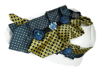 Necktie,Artistic,Flowers,Black,Yellow,Blue,Tie,Retro,Vintage,Recycled