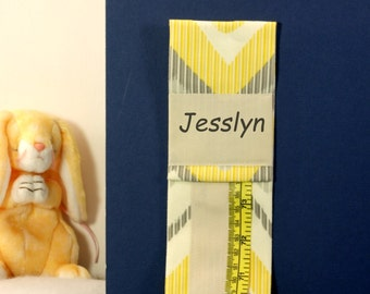 METRIC GROWTH CHART - Personalized Keepsake - Yellow and Grey