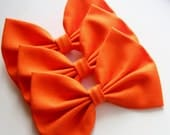 NEW - Megan Hair Bow - Deep Orange Solid Color Hair Bow with Clip