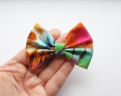 SMALL Mia Hair Bow -Tie Dye Pattern Hair Bow and Clip