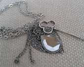 Steampunk Necklace, Charm Necklace, Key, Crystal Pendant with Antique Silver Chain Link Jewelry