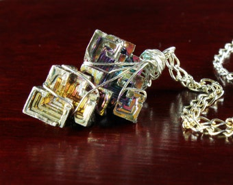 Rainbow Bismuth necklace, Sterling Silver fine necklace with rainbow metal crystal, original silver wire wrap crystal necklace, gift, NL3156