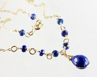 Lapis Lazuli Necklace, Goldfilled Wire Wrap, fine royal blue gemstone necklace, elegant, bohemian, December birthstone, gift for her, 2866