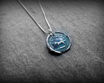 Silver wax seal pendant, Dog lover, Faithful by RECREATE4U