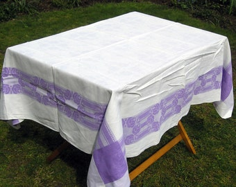 Vintage White and Purple Damask Tablecloth with Rose Motive, White and Purple Floral Rose Tablecloth