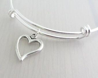 Silver Heart Charm Bangle, Heart Charm Bracelet, Adjustable Charm Bangle, Silver Friendship Bangle, Stackable Bracelet, Valentine Gift