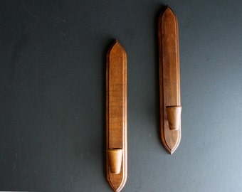 Vintage Candle Wall Sconce Set Of 2 Danish Modern Style Wood Mid CenturyModern Sconces