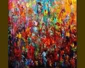 Oil Painting on Canvas palette knife Contemporary colors.
