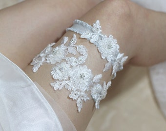 Blossom garter set, bride garter set, wedding garter set, lace garter set, bridal lingerie, wedding garter belt