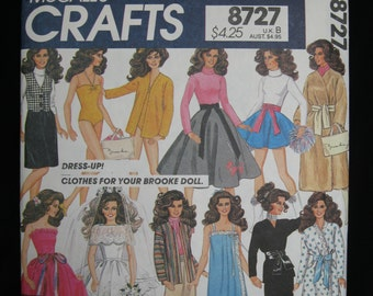 Clothes Pattern for Brooke Doll, licensed Brooke Shields, 1982, McCall's 8727/696, nightgown, robe, dresses, suits, gowns, coat, beach, more