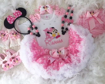 3-pc Set Minnie mouse Inspired baby Pink Birthday outfit- includes Personalised Top,super fluffy Skirt and Hair accessory