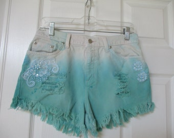 "Vtg Denim cut off shorts W 30 Ombre dip dyed cutoff shorts grunge destroyed with lace added 30"" waist High Waisted"