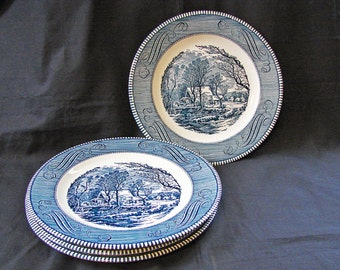 Royal China Currier and Ives 4 Dinner Plates Old Grist Mill