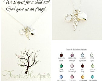 Memorial Gift - Angel Wing & Heart Necklace - Personalized Loss of Child Miscarriage Sympathy Gift - Mommy of an Angel - Prayed for a Child