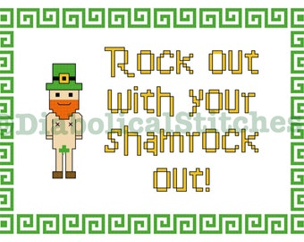 Rock out with your shamrock out! St. Patrick's day cross stitch pattern