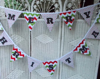 Christmas Banner- Fabric, Merry Christmas