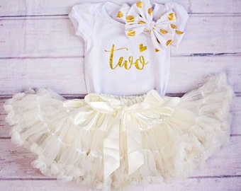 Baby Girl Birthday Clothing.. Gold Ivory Birthday Outfit..Cake Smash Outfit..Girl Skirt and Top Set..Baby's 1st Birthday Outfit..Photo prop