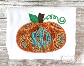 Monogrammed Pumpkin Embroidered Shirt or Bodysuit