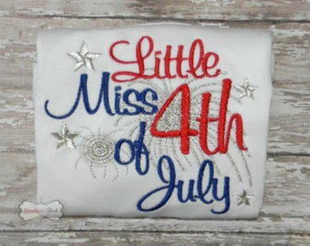 Lil Miss 4th of July Embroidered Shirt or Bodysuit in Red, White, Blue & Silver