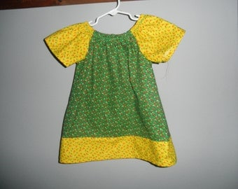 Yellow and Green Floral Peasant Dress  4T    K109