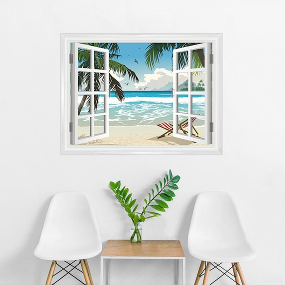 Tropical Window Mural Removable Wall Decal Wall Decor