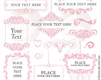 Digital Frame Victorian - cute Bubblegum Pink Chandelier Clipart for a Soft Design Feel, suitable for Wedding and Business 10751