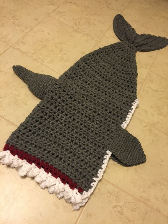 Free Pattern Crochet Shark Blanket : Shark Blanket Shark Week Shark Tail Crochet Shark Blanket