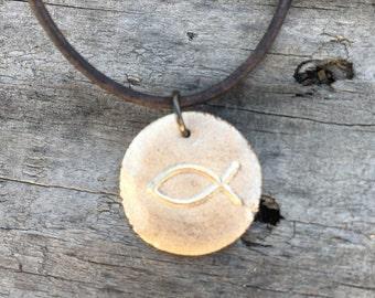 Christian fish symbol necklace handmade bronze pendant