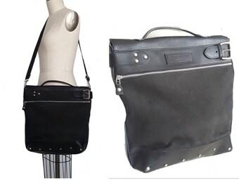 Leather & Canvas Messenger Bag / Vintage Black J. Peterman Satchel Cross Body Bag / Safari Bag