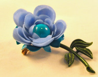 Vintage Turquoise and Blue Flower Enamel and Celluloid Pin / Brooch - So cute