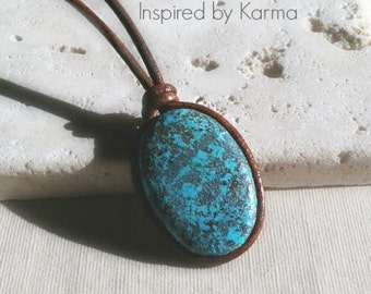 Azurite and Leather Boho Necklace, Boho Jewelry, Bohemian Jewelry, Leather Jewelry, gifts for her, gifts under 45