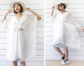 Vintage sheer white minimalist oversized boxy full balloon sleeve tunic shirt dress