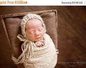 SALE Newborn classic knit bonnet-Simple bonnet in chunky wool-Newborn photography-Baby knit hat