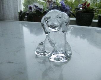 Vintage Swedish glass art dog - Bergdala glas