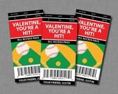Baseball Valentine Cards Softball sports kids Printable Classroom PDF