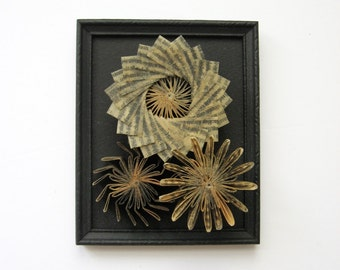 Waxed Paper Cogs No9 Paper Succulents - Paper Sculpture - Framed Wall Decor - Recycled Book Art - Black Wall Sculpture - Paper Anniversary