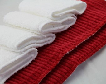 Cloth Pad Set of 3 - Postpartum, Overnight & Heavy Flow - Red/White