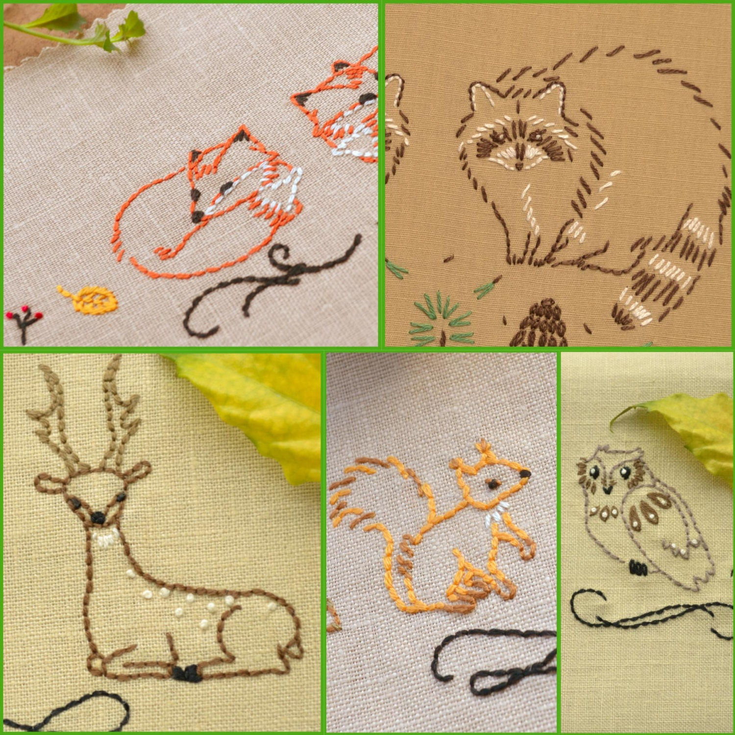 Hand Embroidery Patterns Set, Woodland Animals, Embroidery Pattern For  Quilt Blocks Or Kitchen Towels Part 87