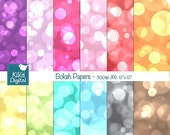 70% Sale Color Bokeh Digital Papers, Bokeh Scrapbook Papers - card design, invitations, background - INSTANT DOWNLOAD