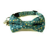 Cat Bow Tie Collar, MINI Triangles in TEAL, Cat Collar Bow Tie, Handmade