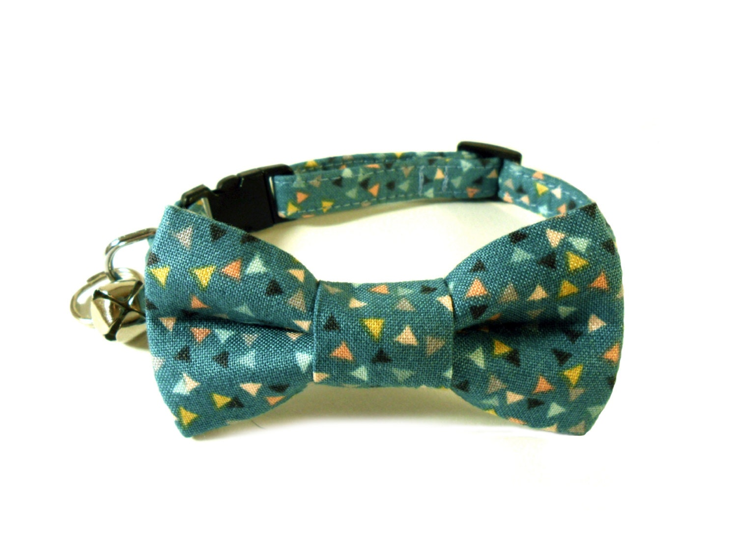 cat small bow tie collar mini triangles in teal