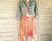 Camisole Dress or Tunic M, Upcycled Clothing, Sun Dress, Upcycled Dress, Tangerine with white and blue, Stripes, Lace