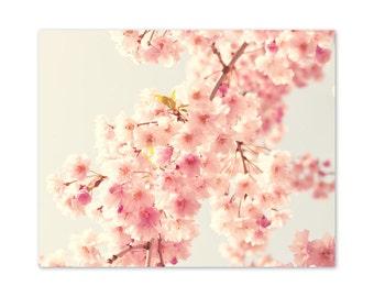 Pastel canvas print, bathroom art, bathroom decor, cherry blossom girly wall art, pastel wall art flower print flower art flower photography