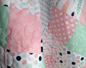 Modern Pink Coral Mint Gray Lavender Baby Girl Quilt