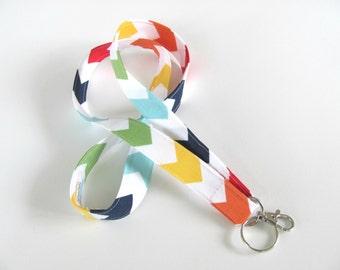Rainbow ID badge lanyard, Fabric lanyard key holder, Primary colors chevron, LGBT pride