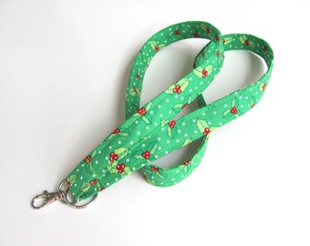 Id Badge Lanyard, Christmas Holly Keys Holder, Badge Holder, Teacher Lanyard Keychain - Green