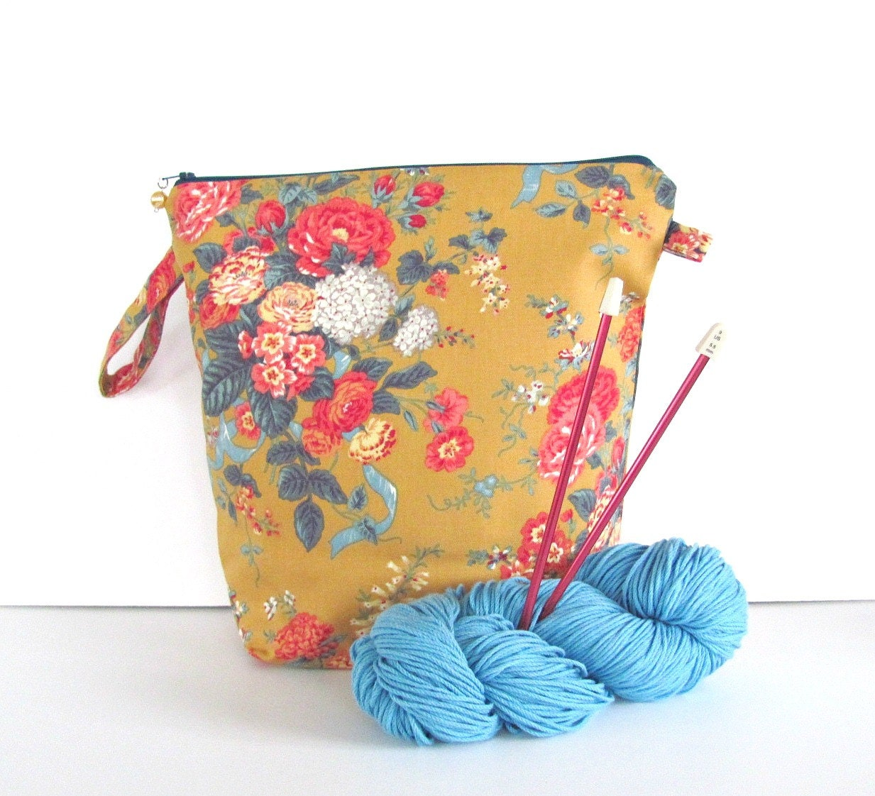 Wedge Knitting Bag Zippered Knitting Project Bag by OvationStudio