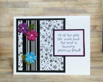 Friendship card, Handmade card, greeting card, Floral design, Embossed