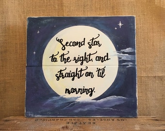 Peter Pan Quote-Peter Pan-Second star to the right-Straight on til morning-nursery-gift-15x16""