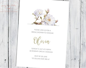 Contemporary Botanical Floral Rose, Baby Bridal shower, Gender Announcement, Girls Birthday, Classic